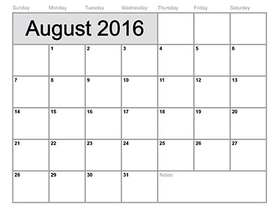 Property auction dates for August 2016